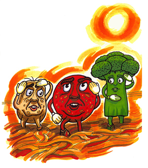 Children's book characters Barbara Broccoli Peter Pepperoni and Sausage Al are walking in their pizza world