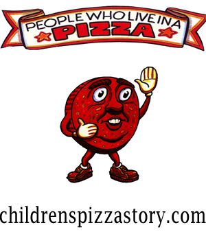 """Children's characters """"People Who Live in a Pizza"""" waving good bye at at night"""